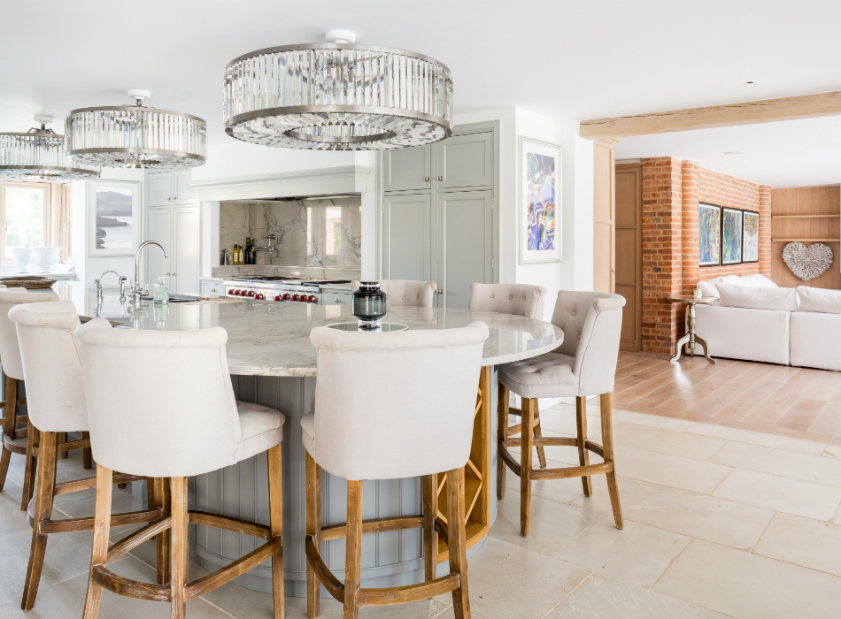 Kitchen breakfast bar leading into the open plan living space