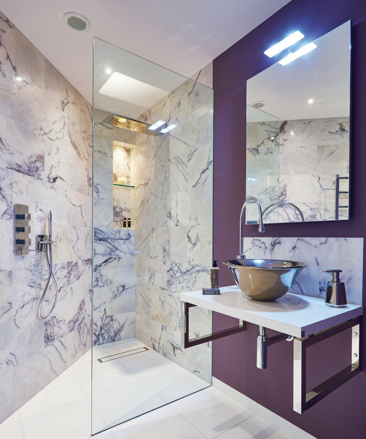 Ultra violet bathroom with liberty marble