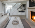 Country cottage with stair case and bench seating