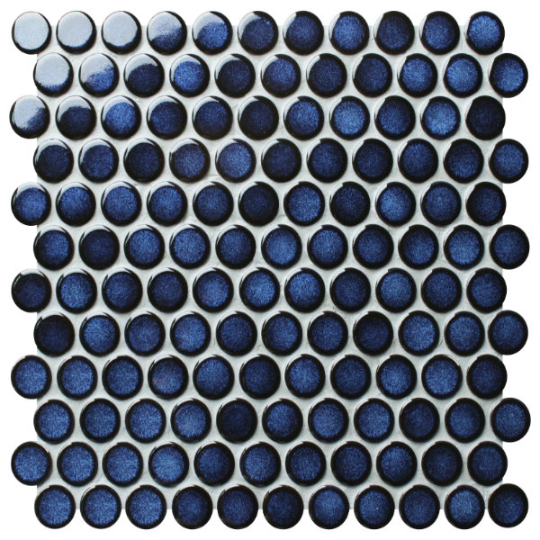 Penny Porcelain Mosaic Deep Blue Tiles